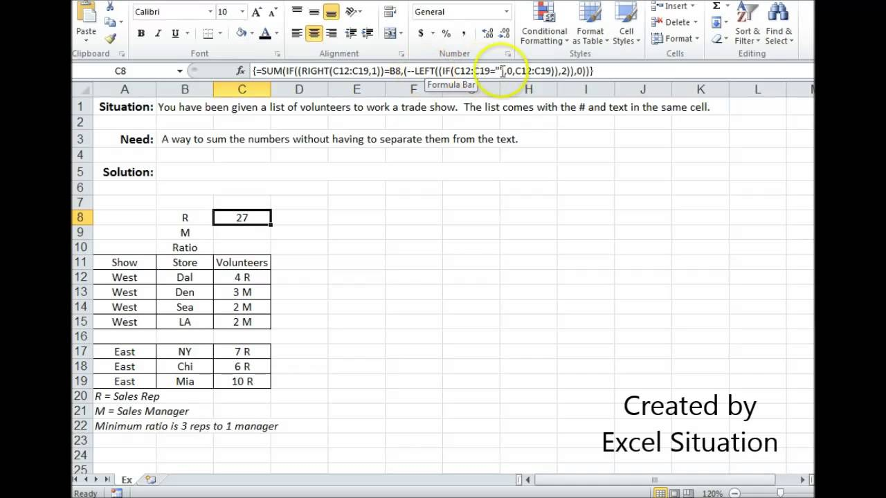 Excel sum numbers in the same cell as text - YouTube