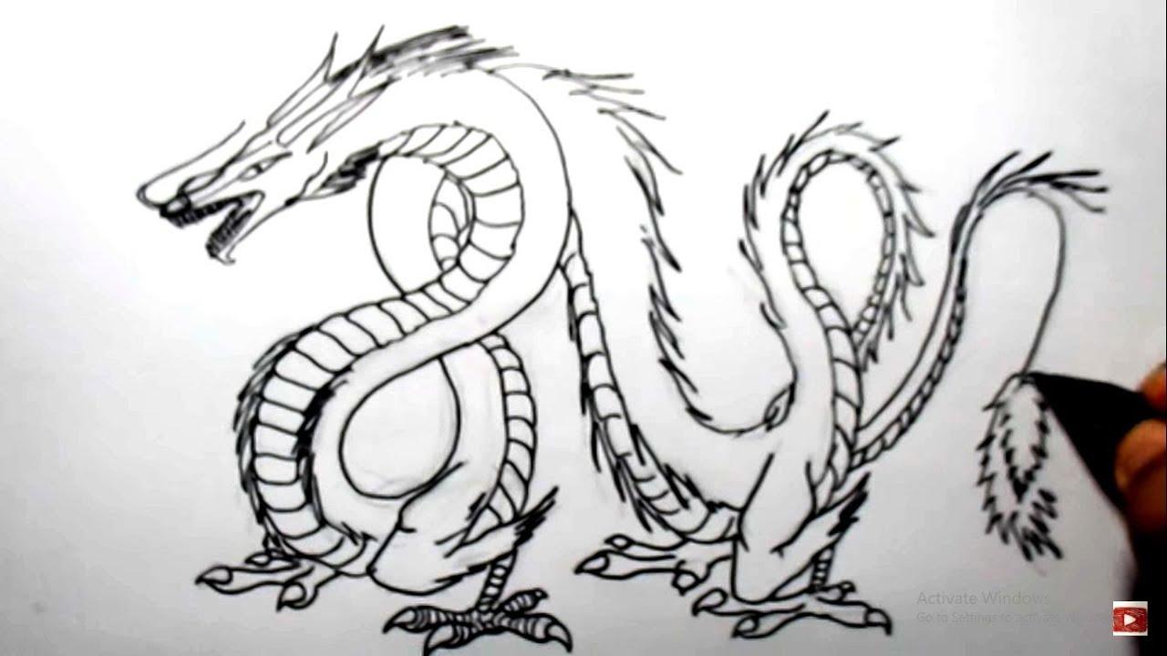 Kumpulan Gambar Sketsa Naga Coc