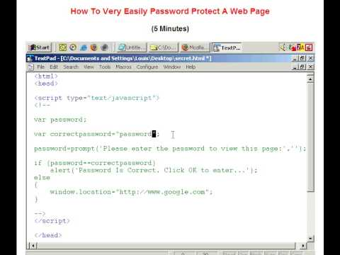 Password Protect a Web Page