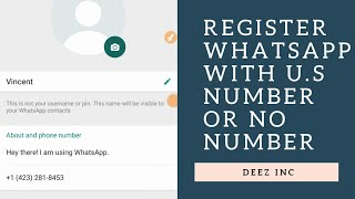 HOW TO REGISTER WHATSAPP WITH U.S NUMBER OR WITHOUT NUMBER | 💯FREE