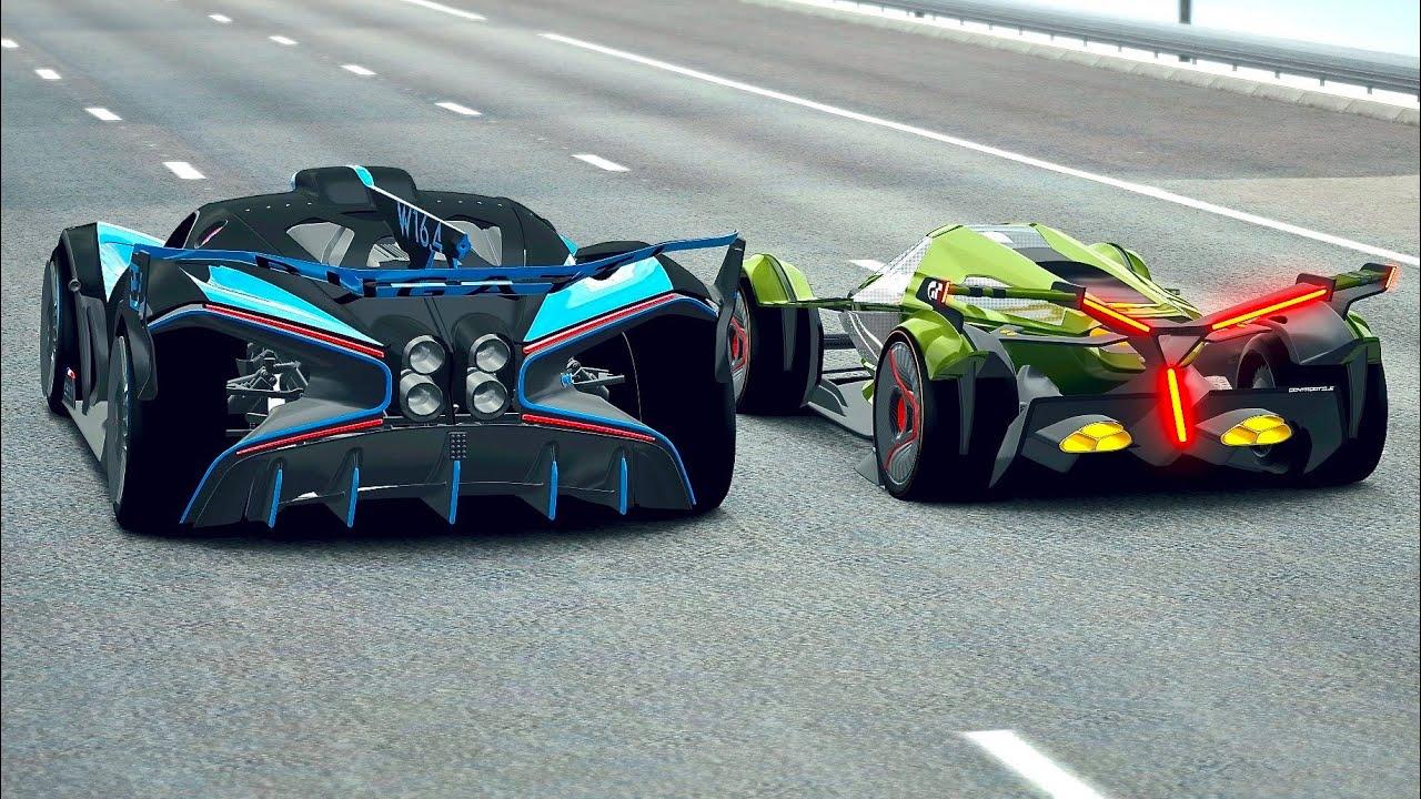 Lamborghini V12 Vision GT vs Bugatti Bolide at Old Spa