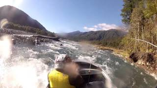 Jetboating the Taramakau river ,west coast , New Zealand