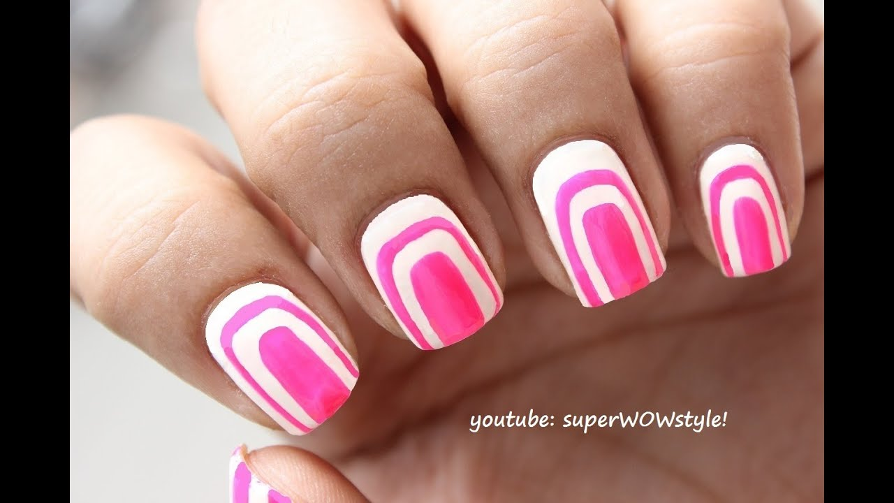 Cute Pink White Nail Art Without Using Tools No Tools Nail