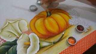 Pintura Abóbora e Gérberas Coloridas