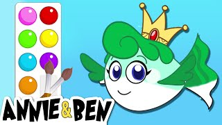 Painting Underwater Animals | Learn Colors With Fun Games For Kids | Annie & Ben