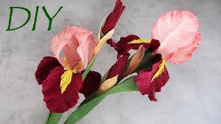 Ирисы из гофрированной бумаги. Цветы с конфетами своими руками.