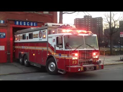 FDNY Rescue 2 Responding With Nice Siren, Air Horn Action In Brooklyn