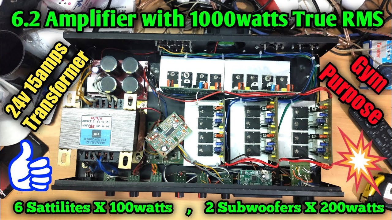 6.2 Amplifier with 1000watts true RMS power | GYM purpose | 20FET model