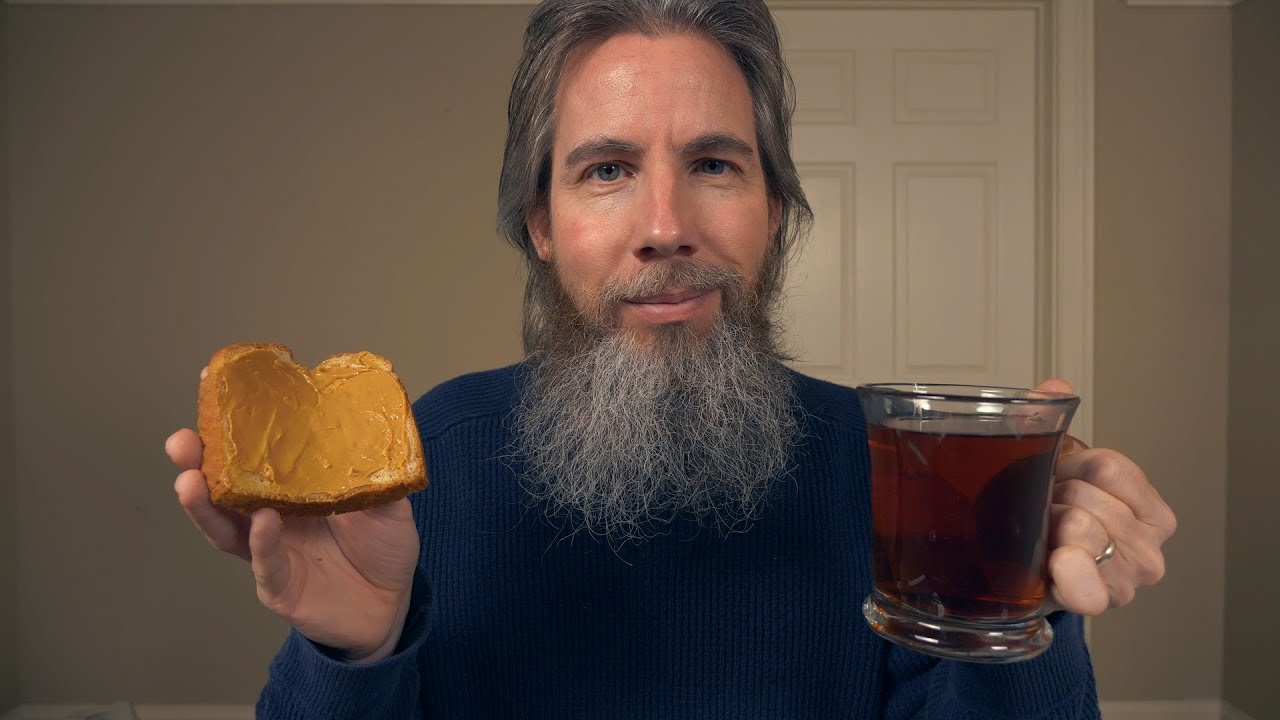 Peanut Butter on Bread with Tea ASMR