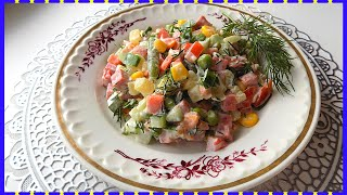 Салат из мексиканской смеси овощей с колбасой и картофелем