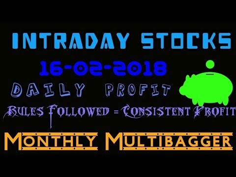 Day trading stocks 16-02-2018  Best stocks with huge potential for intraday