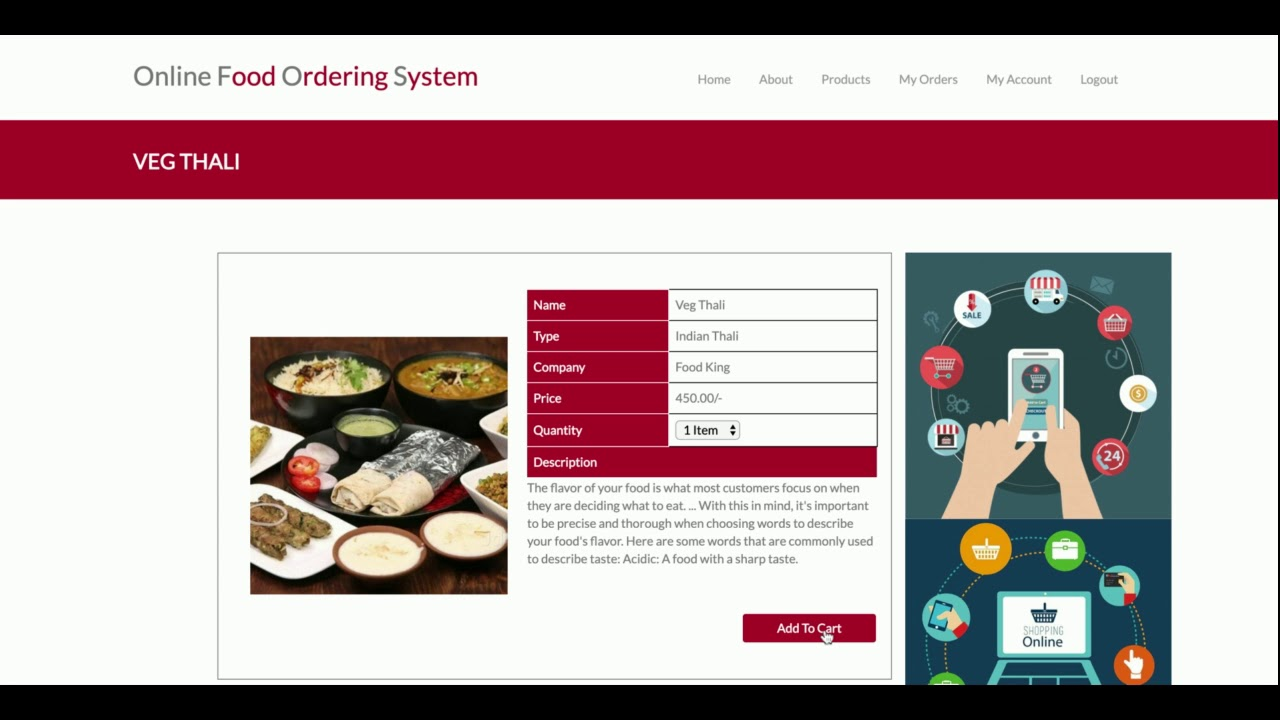 Python Django and MySQL Project on Online Food Ordering System