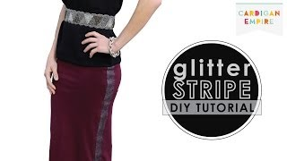DIY: How to Add a Glitter Tuxedo Stripe to a Pencil Skirt Thumbnail