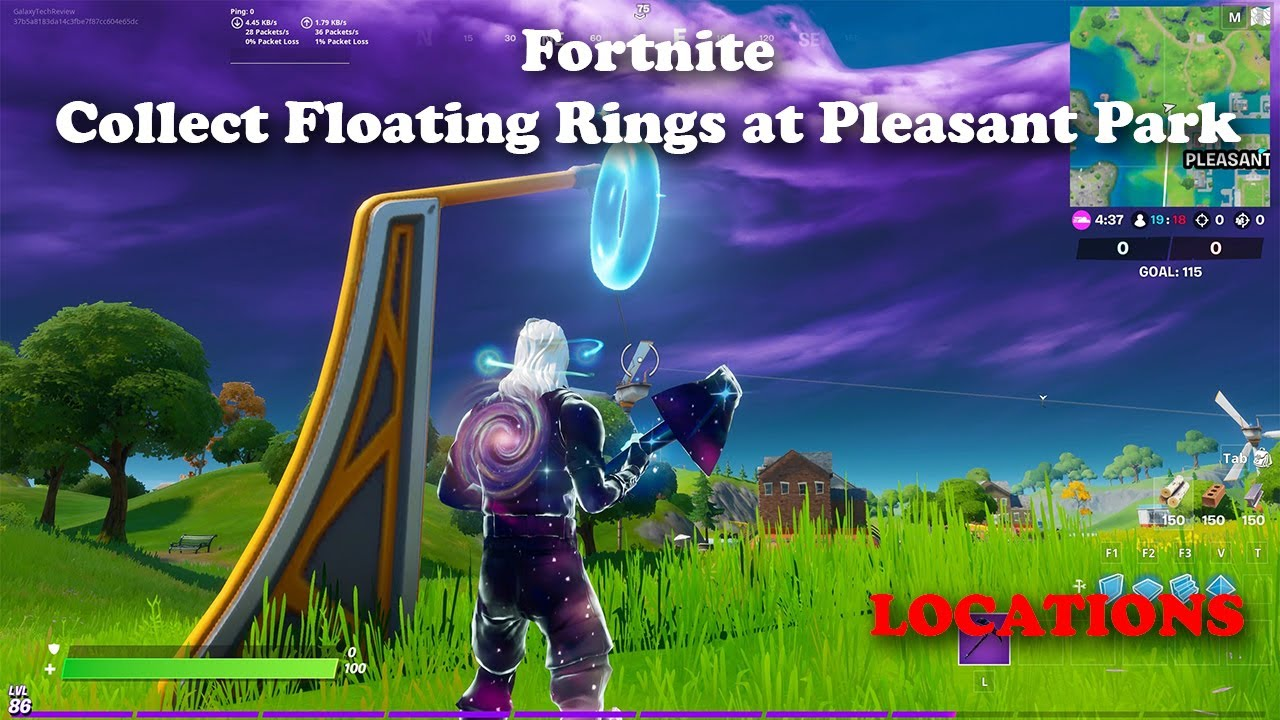 Collect Floating Rings at Pleasant Park -Epic Removed Challenge and gave XP! Fortnite Week 4