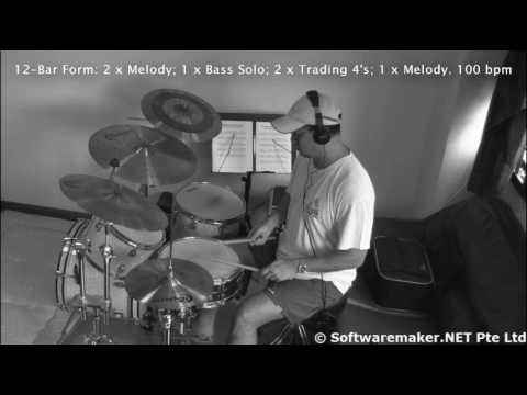Playing Drums to a easy tempo minor 12-Bar Blues
