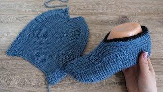 Легкие следки на двух спицах Турецким способом | Easzy slippers knitting pattern in Turkish