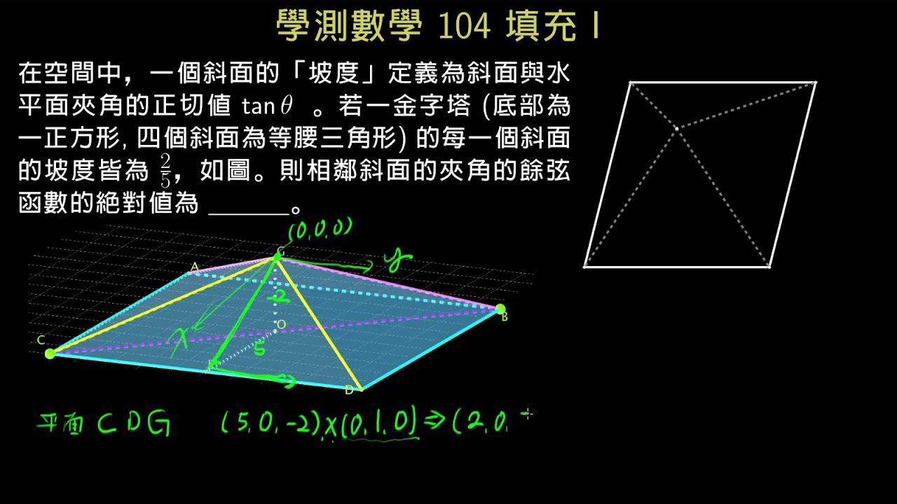 學測數學104 填充I 四角錐的兩面角 - YouTube