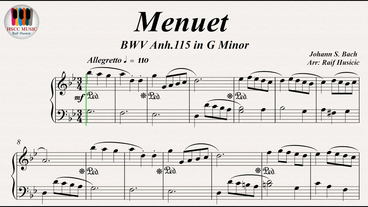 Free Bach - Minuet in G sheet music for piano solo PDF