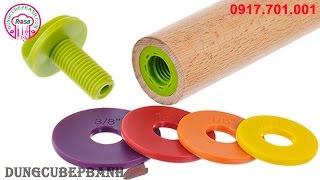 Cây cán bột thông minh (điều chỉnh độ dầy, mỏng theo ý thích, Adjustable Wood Rolling Pin)