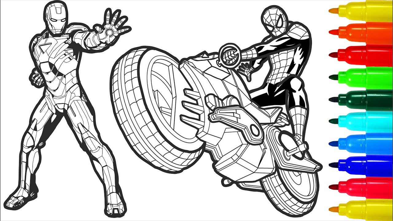 - Spiderman On A Motorcycle Iron Man Captain America Coloring Pages  Superheros Coloring Pages - YouTube