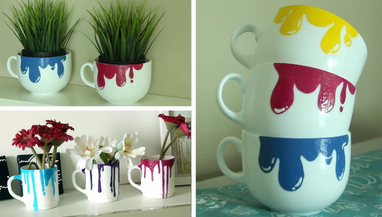 Diy dripping paint mugs youtube for How to make ceramic painting