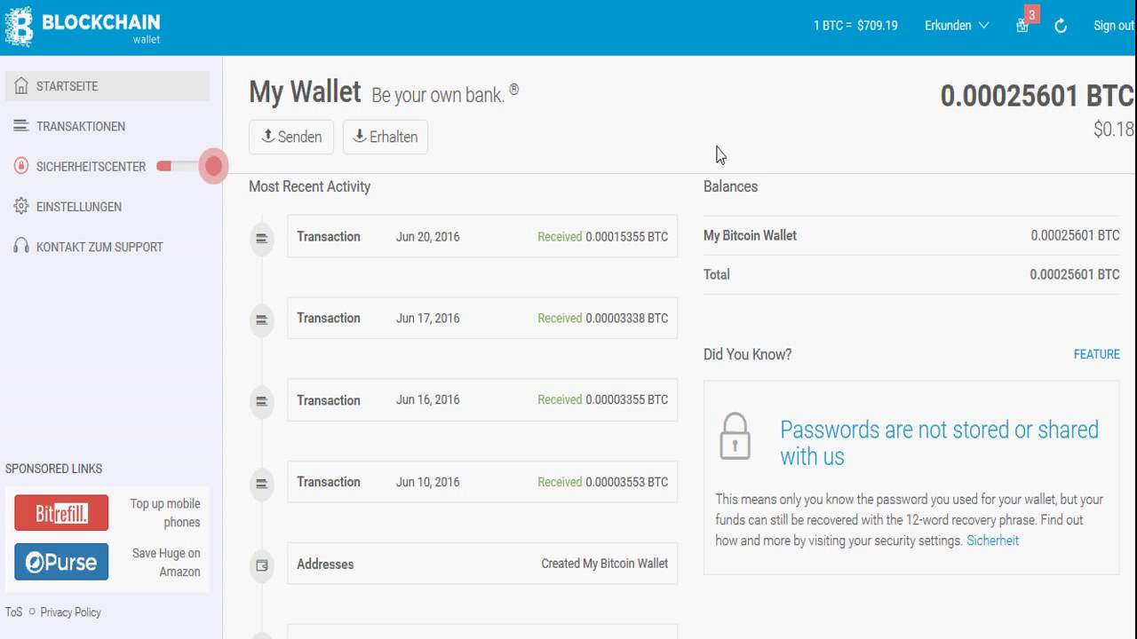 Bitcoin Auszahlung