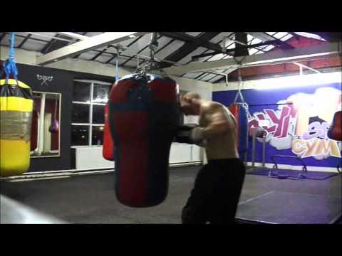 Ripped Muscle Guy Boxing Training and Sweaty Flexing