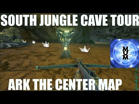 SOUTH JUNGLE MIDDLE CAVE TOUR. LOCATION AND COORDINATES- S2E7 ARK MODDED CENTER MAP