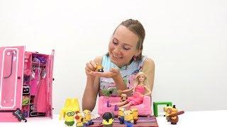 Видео для девочек. МИНЬОНЫ в гостях у Барби. Игры в куклы