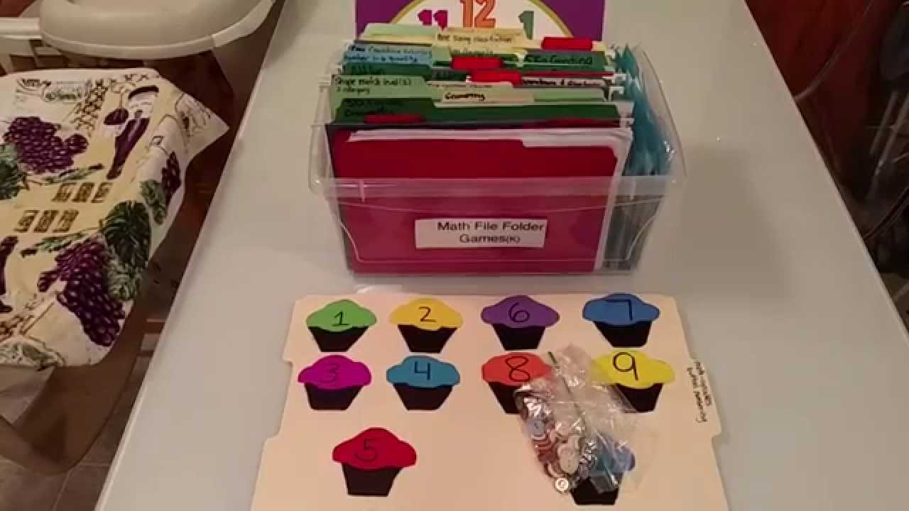 math worksheet : file folder games for kindergarten diy hands on math!  youtube : Pre Kindergarten Math Games