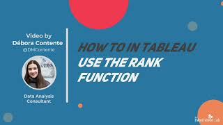 How to in Tableau in 5 mins: Using the Rank Function