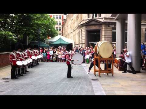 Welsh Guards and Taiko drummers