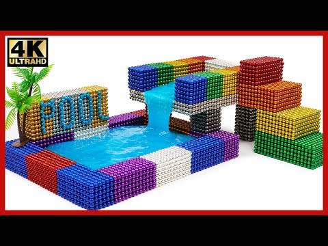 DIY - How To Make Two Floors Swimming Pool Form Magnetic Balls | Pixel Art by Magnet World 4K