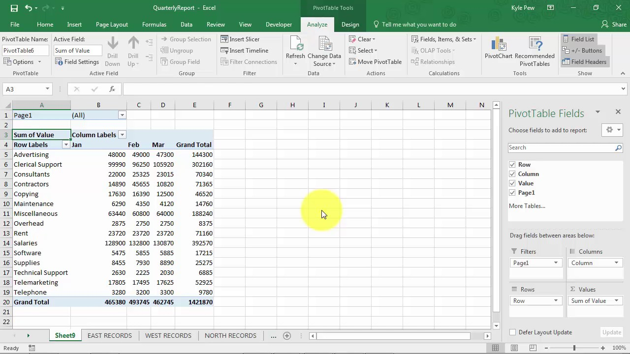 Create An Excel Pivottable Based On Multiple Worksheets
