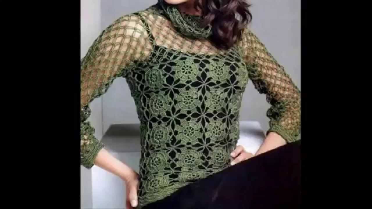 Blusa verde motivos cuadros calados cuello red a crochet youtube