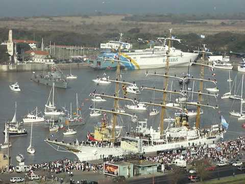 ARA Libertad (Argentine Navy Tall Ship) arriving into Buenos Aires port - Argentina