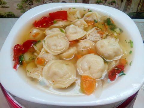 Суп с пельменями.  Рецепт самых вкусных пельменей.