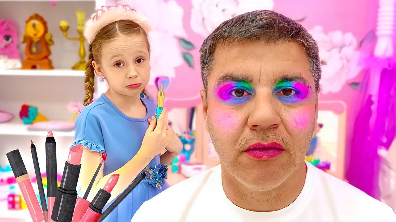 Download Nastya finge brincar de brinquedos de maquiagem com princesas