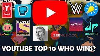 AOC2: YouTube 10 Top Who Wins? (T-Series, PewDiePie, Cocomelon, SET India... etc) Timelapse