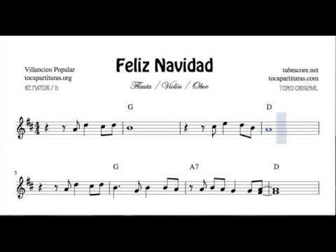 I Wanna Wish You a Merry Christmas Sheet Music for Flute Recorder Violin and Oboe Feliz Navidad