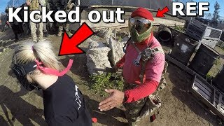 Crazy Girl gets KICKED OUT for THREATENING to FULL AUTO me in front of REF!! MUST SEE!!