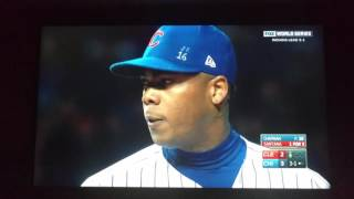 Cubs Win Game 5 World Series! Aroldis Chapman Pitching.