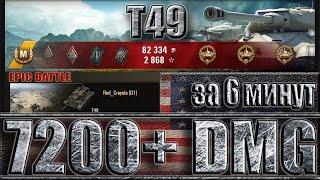 Т49 МАКСИМАЛЬНЫЙ УРОН ЗА 6 МИНУТ ✔ 7200 DMG ✔ ТОП СТАТИСТ НА T49 WORLD OF TANKS