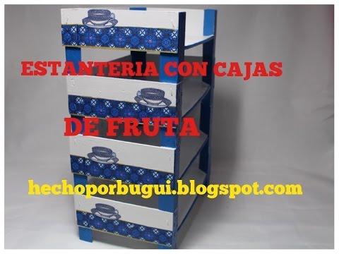 como hacer una estantera con cajas de fruta organizador diy