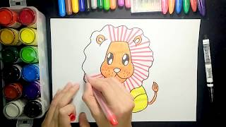 How to draw  a lion-2【Ginger's place for kids】
