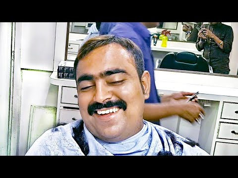 Round neck Hair cut with smile - ASMR Haircut