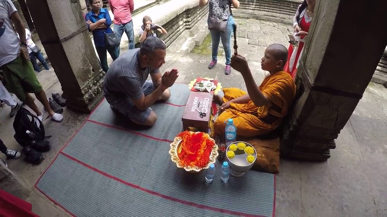 Monk Blessings String Bracelet Sai Sin At Angkor Wat Temple