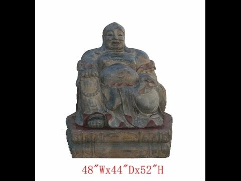 Huge Chinese Antique Whole Piece Wood Carving Happy Buddha Statue wk2373