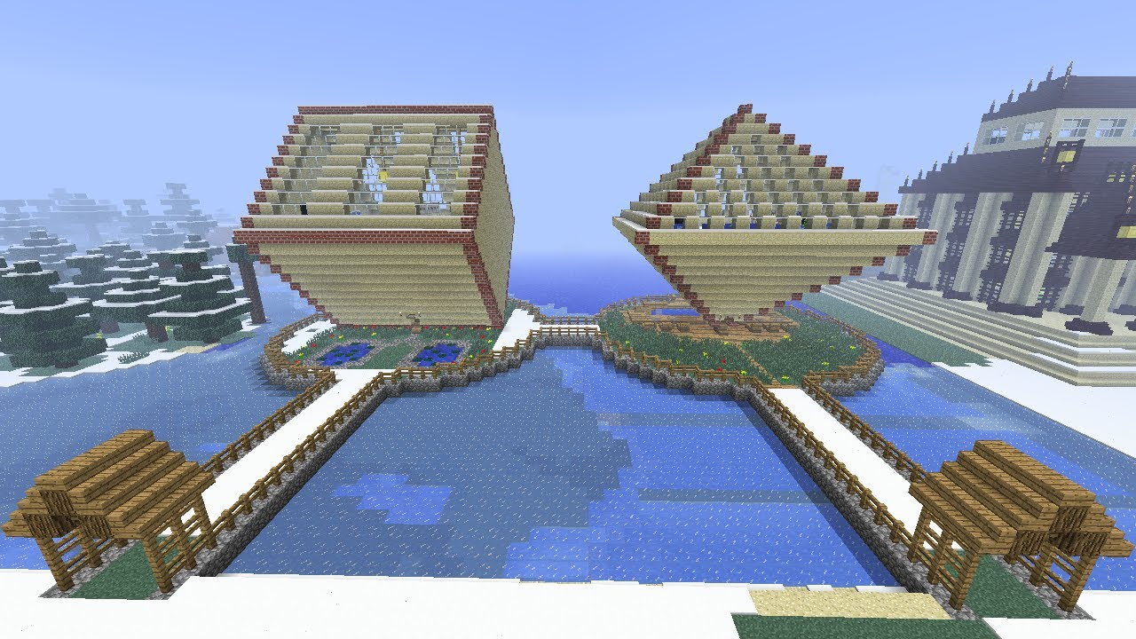 minecraft diamond shaped house fully furnished. - youtube