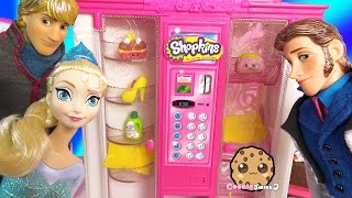 Barbie Vending Machine Of Shopkins Season 3 With Disney Frozen Queen Elsa, Prince Hans, Doll  Video